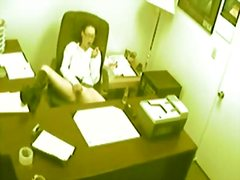 office, brunette, fingering, voyeur, hidden, masturbation
