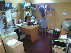 office, brunette, voyeur, spy,