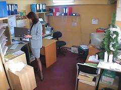 spy, masturbation, brunette, office