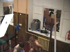 Blonde in gym on hidde...