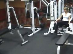 Voyeur sexy poses in gym