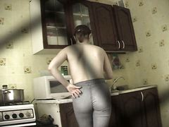 topless, candid, voyeur, kitchen