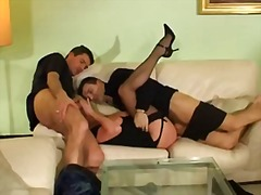 milf, french, threesome, facial, cumshot,