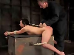 Girl tied to box in doggy whipped pus...