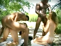group, outdoors, interracial, black