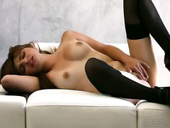 brunette, stocking, masturbation,
