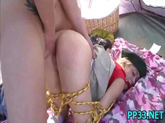 Cute girl tied up & dr... video