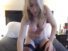 Hot and sexy blonde girl dances and s...