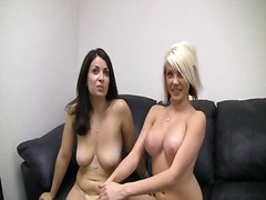 Provocative younger blonde bimbo with big