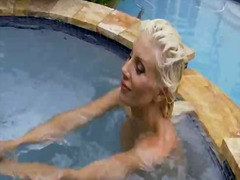 Puma swede caressing her pussy by the pool