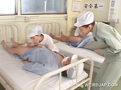 Asian nurses rubbing their patients h...