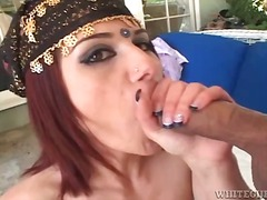 blowjob, outdoors, redhead