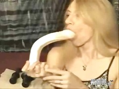 Swallowing dildos deep