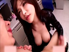 Gorgeous japanese woman smothers with...