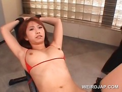 Tied up asian slave pussy teased hardcore with toys