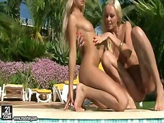 Lesbo poolside fun would impress you