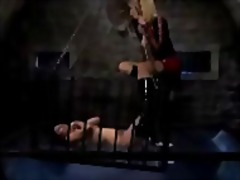 Girl locked to cage to...