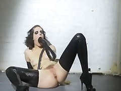 Mastubation in latex video
