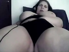 Bbw with huge tits masturbating on we...