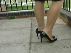 Posh blonde has fetish for shiny nylons and high heels