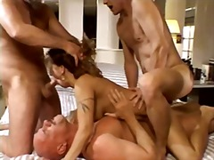 A man looks his wife fucked by four mens