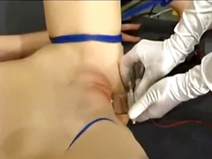Schoolgirl tied to desk tortured and fucked with electric devices by mistress in the classroom