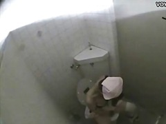 Public toilet room gir...
