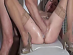 Fist fucking the wife till she pisses...
