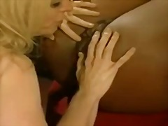 ebony, mother, fingering, blonde