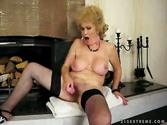Lonely granny effie in black stockings