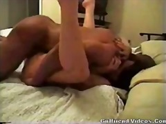 Nice brunette gets fucked missionary on the bed.