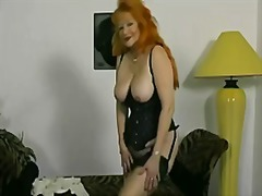 Red-headed german granny shows off fo...