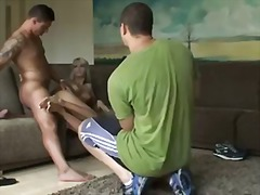 Anal interracial sexy gal fucked outside a video on a sofa.