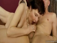 Chubby grandma gets fucked by young man