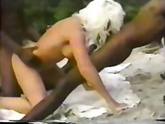 interracial, nudity, public, beach, gangbang