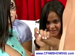 cfnm, handjob, glasses
