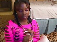 Thumb: Teen ebony enjoys whit...