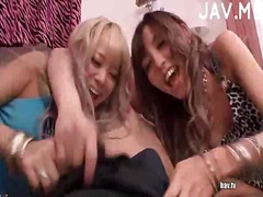 threesome, asian, brunette, blonde