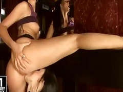 Horny sexy brunette alletta licks her girlfriend's sweet muff as she moans in sweet lovelt tones