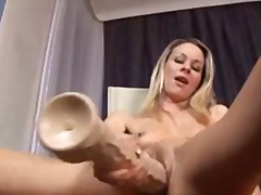 Sun Porno Movie:Petite blonde giant toy