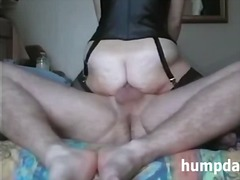 Housewife rides hubbys cock with her asshole