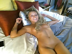 Playful slim blonde an...