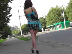 Voyeur Hit Movie:Delightful brunette hair in ou...