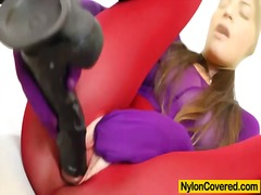 Brunette covered in pa... video