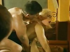 French blonde in black... video