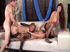 Dick addict hot cougars giving blowjob in pov foursome