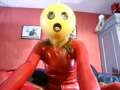 Girl inside red latex ... - Yobt