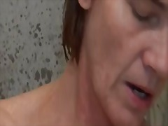 hairy, redhead, vibrator, bath, mature, old, masturbation, toys, toy, granny, shower,