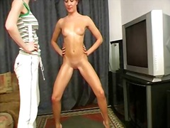 domination, shaved, brunette, slave, naked, bdsm
