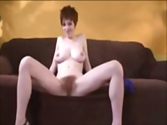 dildo, orgasm, toy, big boobs, heels, bush, tits, busty, hairy